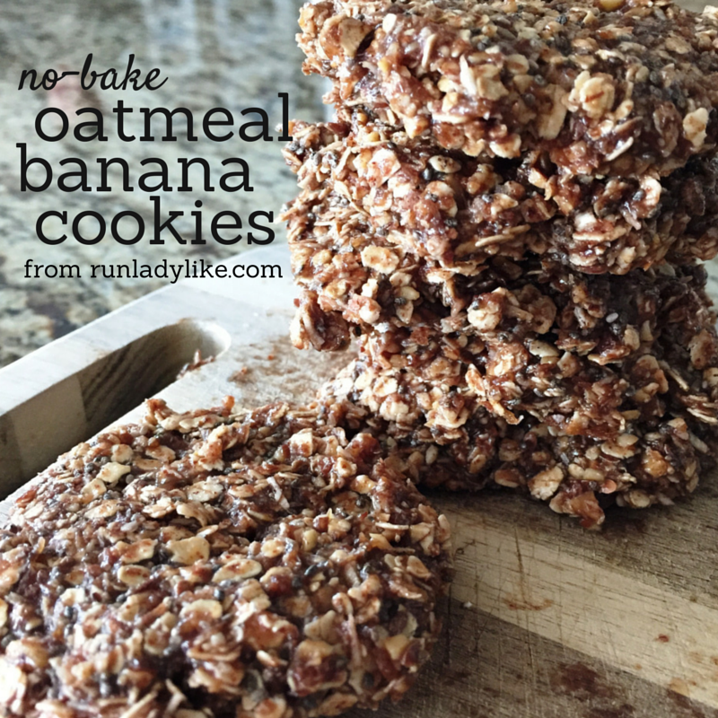 No-Bake Oatmeal Banana Cookies on runladylike.com