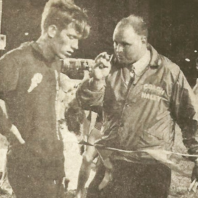 Wes Koenig with Coach Brent Haley in 1971