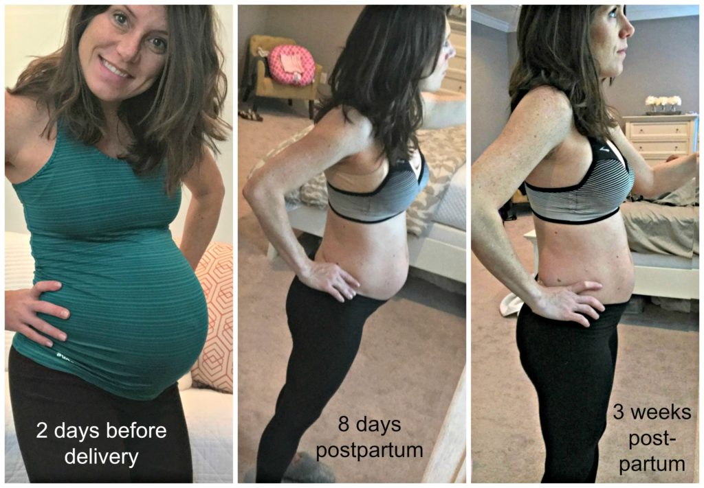 I gained 29 pounds during pregnancy. At two weeks postpartum, I'd lost 17  of those pounds (I weighed myself at the pediatrician's office).